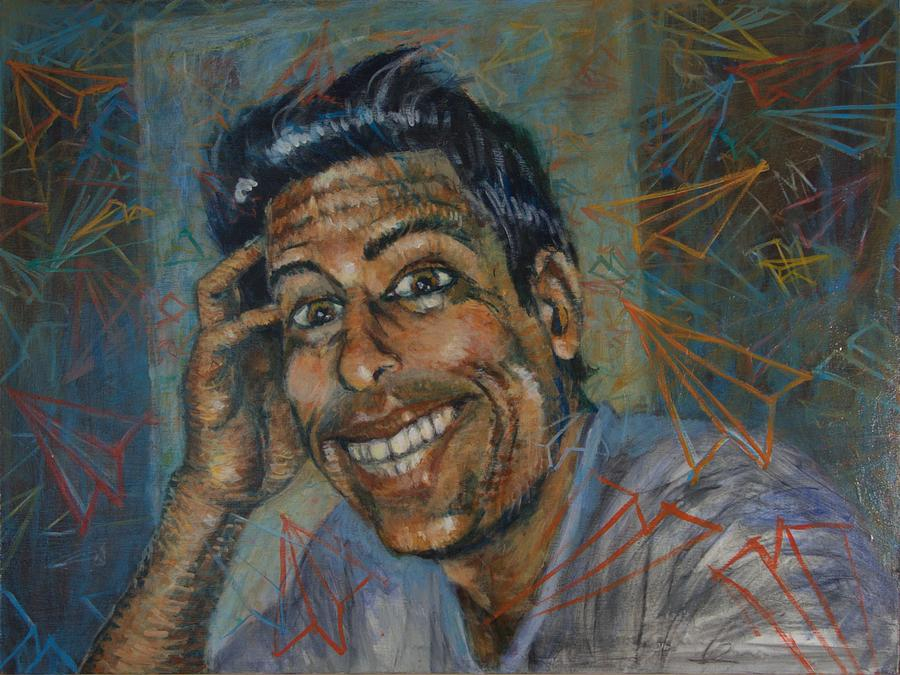 Portrait Painting - Self Portrait With Paper Airplanes by Jeff Levitch