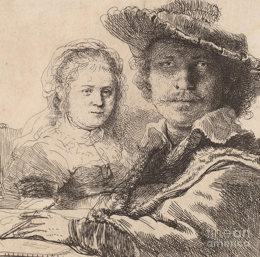 Rembrandt Drawing - Self Portrait With Saskia by Rembrandt