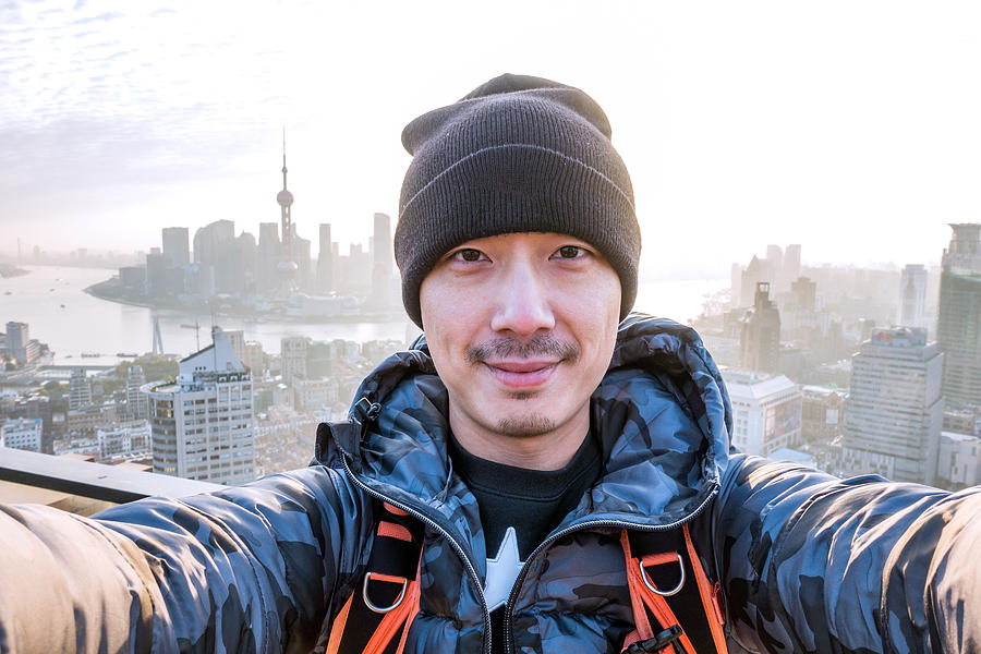 Selfie Portrait On Rooftop Shanghai China Photograph by Yinjia Pan