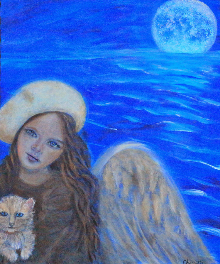 Sacred Feminine Painting - Selina Little Angel Of The Moon by The Art With A Heart By Charlotte Phillips