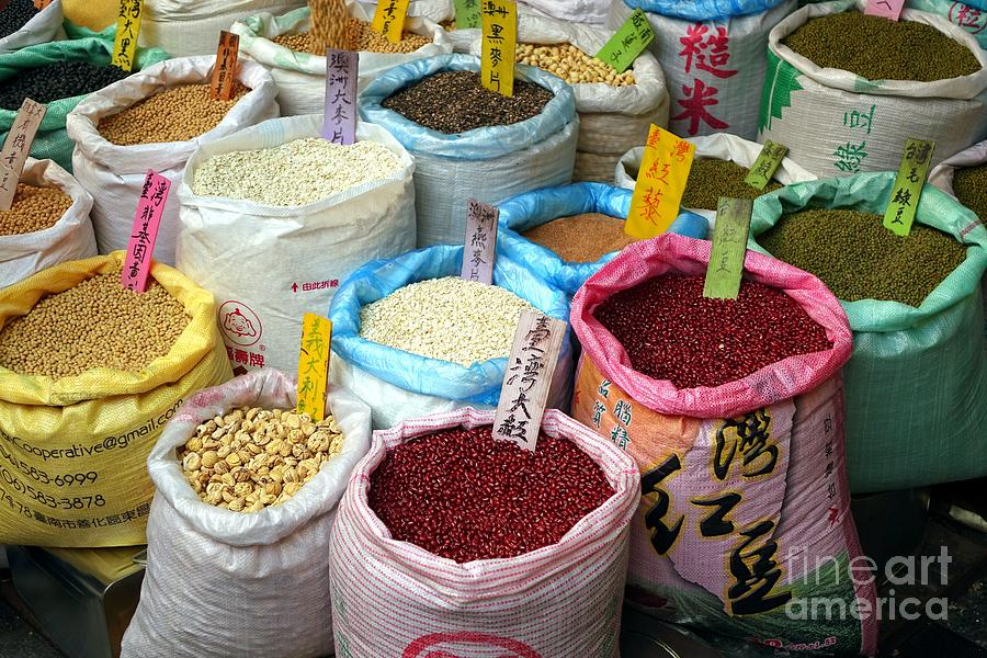 Taiwan Photograph - Selling Beans Nuts And Grains by Yali Shi