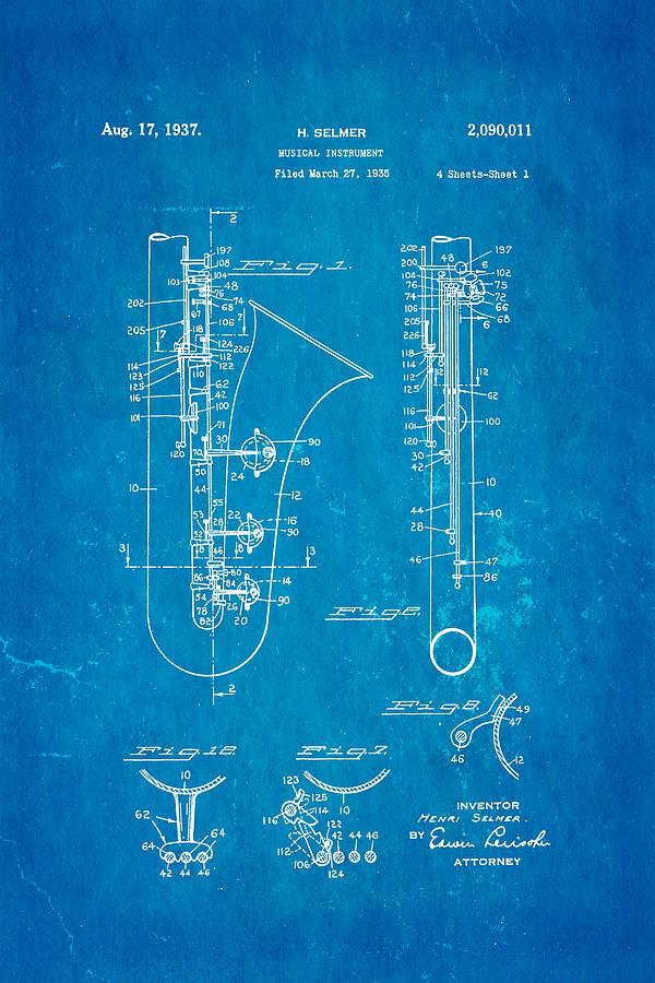 Famous Photograph - Selmer Saxophone Patent Art 1937 Blueprint by Ian Monk