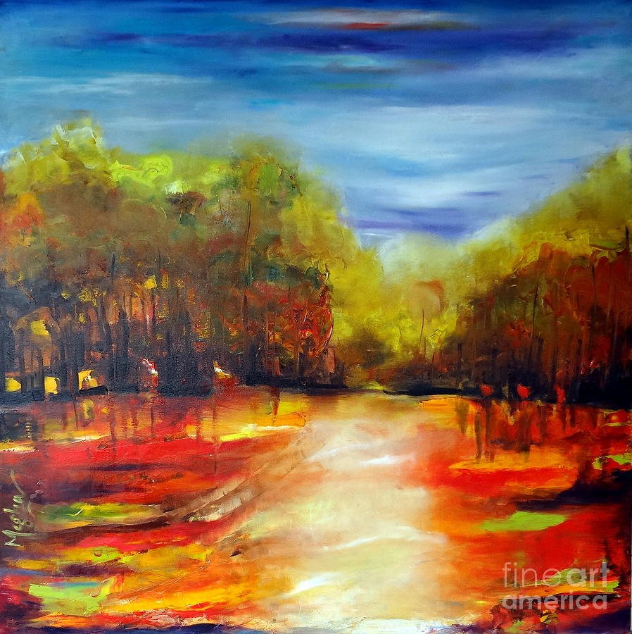 Semi abstract nature painting by megha nema for Abstract nature painting