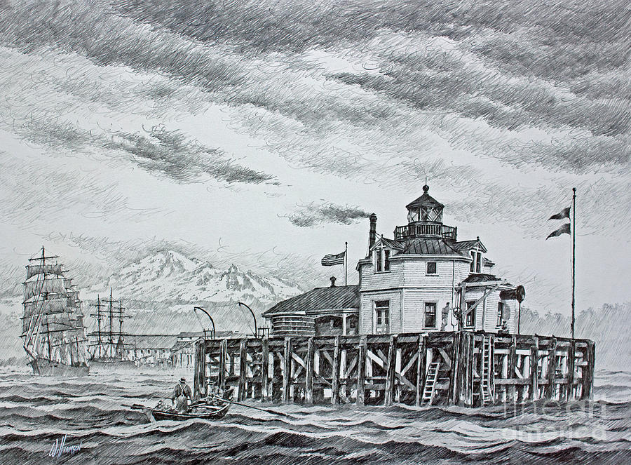 Semiahmoo Lighthouse - Drawing Drawing by James Williamson