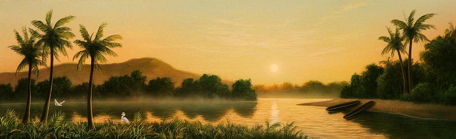 Native American Painting - Seminole Sunset by Jerry LoFaro