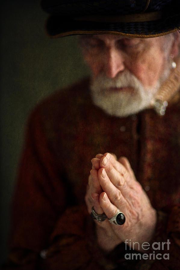 Tudor Photograph - Senior Historical Man In Prayer by Lee Avison