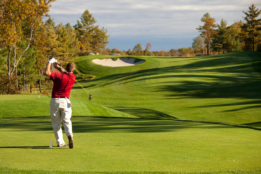 Senior Male Caucasian Golfer Driving off the Tee in Fall Photograph by ImagineGolf