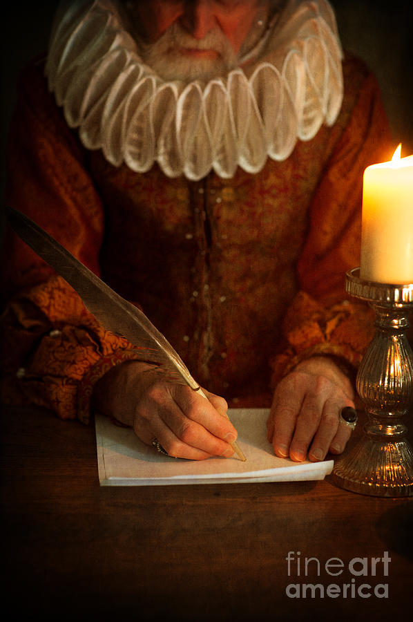 Senior Tudor Man Writing With A Quill Pen Photograph By