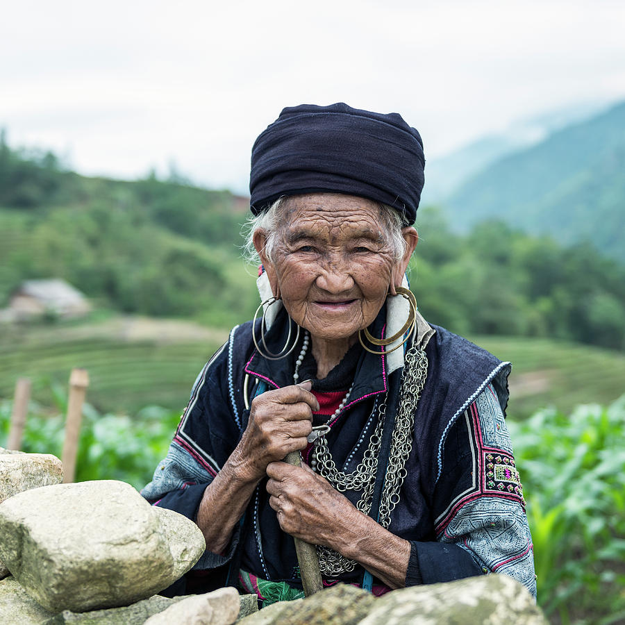 Senior Woman Of Black Hmong Hill Tribe Photograph by Martin Puddy