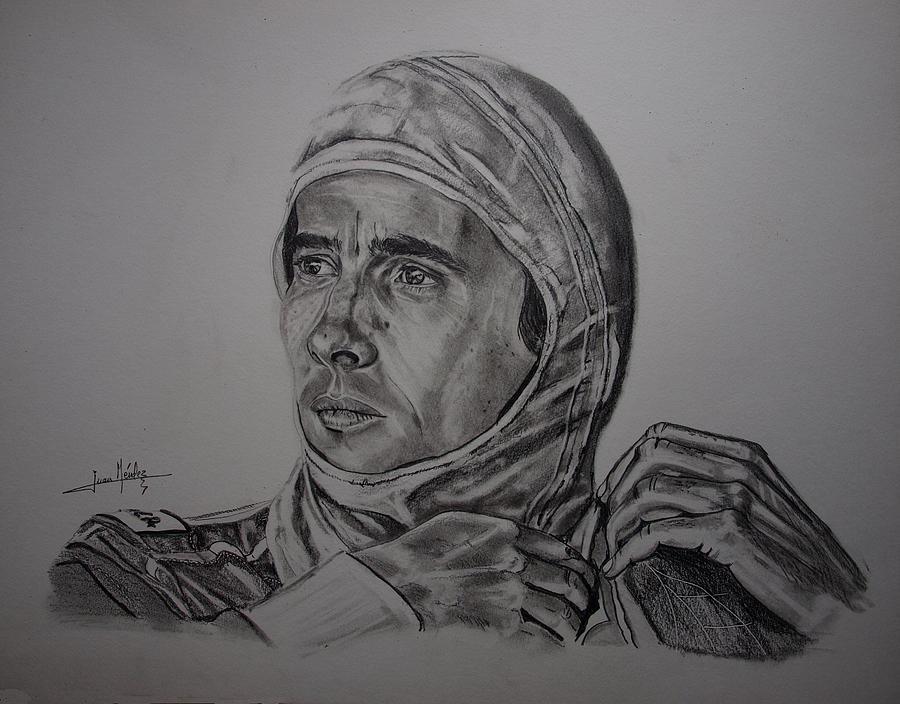 Ayrton Senna Drawing - Senna The Gaze Of Myth. by Juan Mendez
