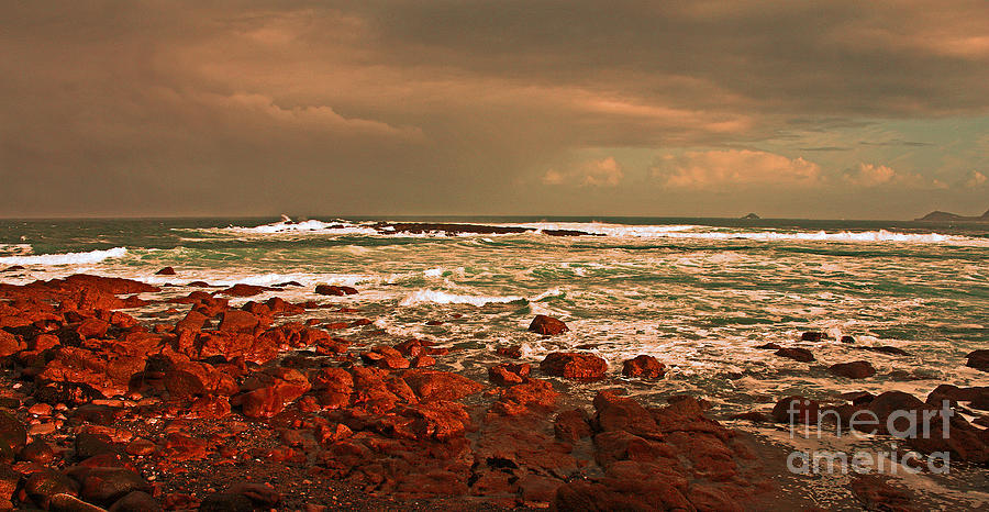 Rocks Photograph - Sennen Storm by Linsey Williams