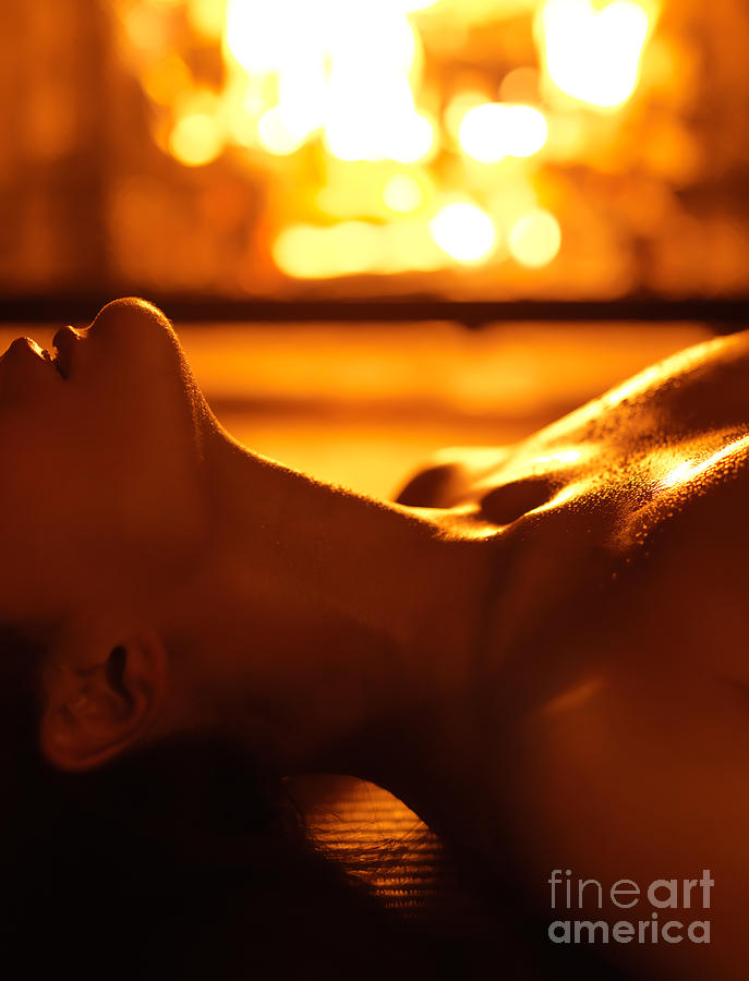 Sensual Photo Of Naked Woman In Front Of Fireplace Photograph by ...