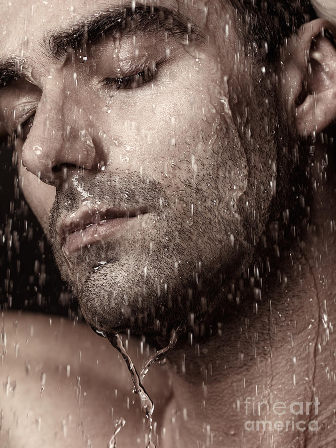 Man Photograph - Sensual Portrait Of Man Face Under Pouring Water by Oleksiy Maksymenko