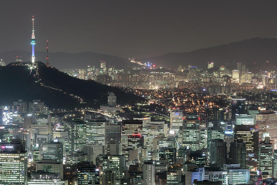 Seoul City Skyline At Night Overview Photograph by Steffen Schnur