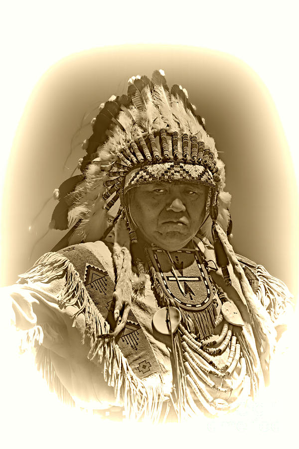 Native American Photograph - Sepia Chief by Scarlett Images Photography