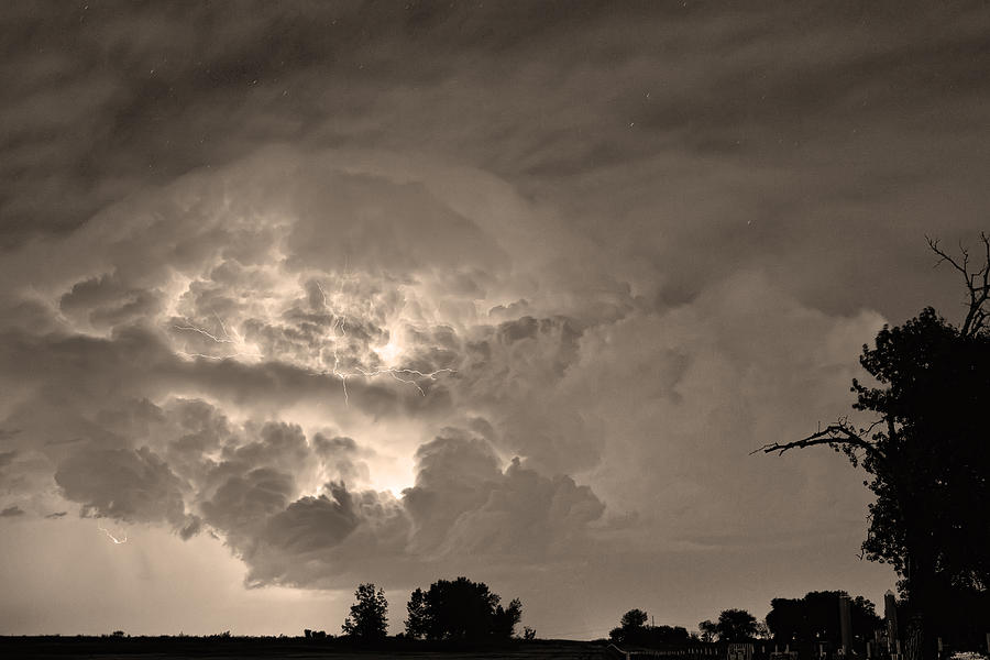 Lightning Photograph - Sepia Light Show by James BO  Insogna