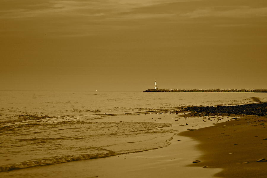 Lighthouse Photograph - Sepia Lighthouse by Frozen in Time Fine Art Photography