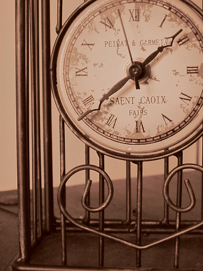 Clock Face Photograph - Sepia Time by Guy Ricketts
