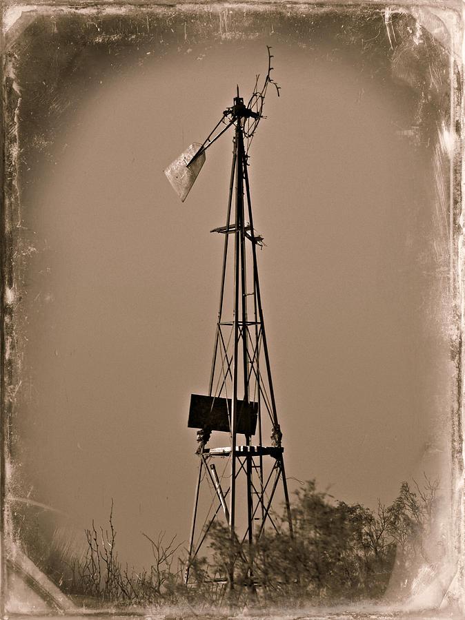Sepia Photograph - Sepia Windmill by Mikki Cromer