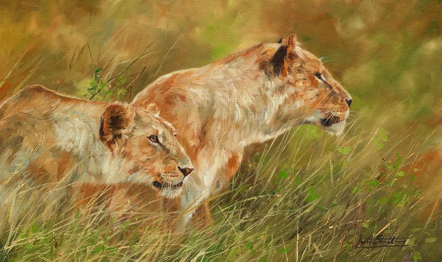 Lions Painting - Serengeti Sisters by David Stribbling