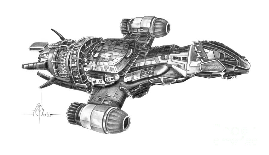 Pencil Drawing - Serenity Firefly Class by Murphy Elliott
