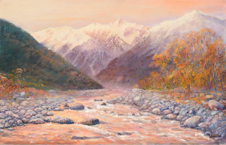 Mountain Painting - Serenity Mountains by Peter Jean Caley
