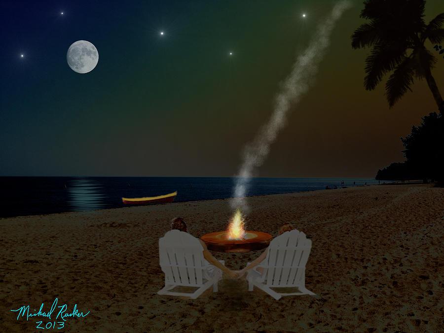 Campfire Digital Art - Serenity On The Beach by Michael Rucker