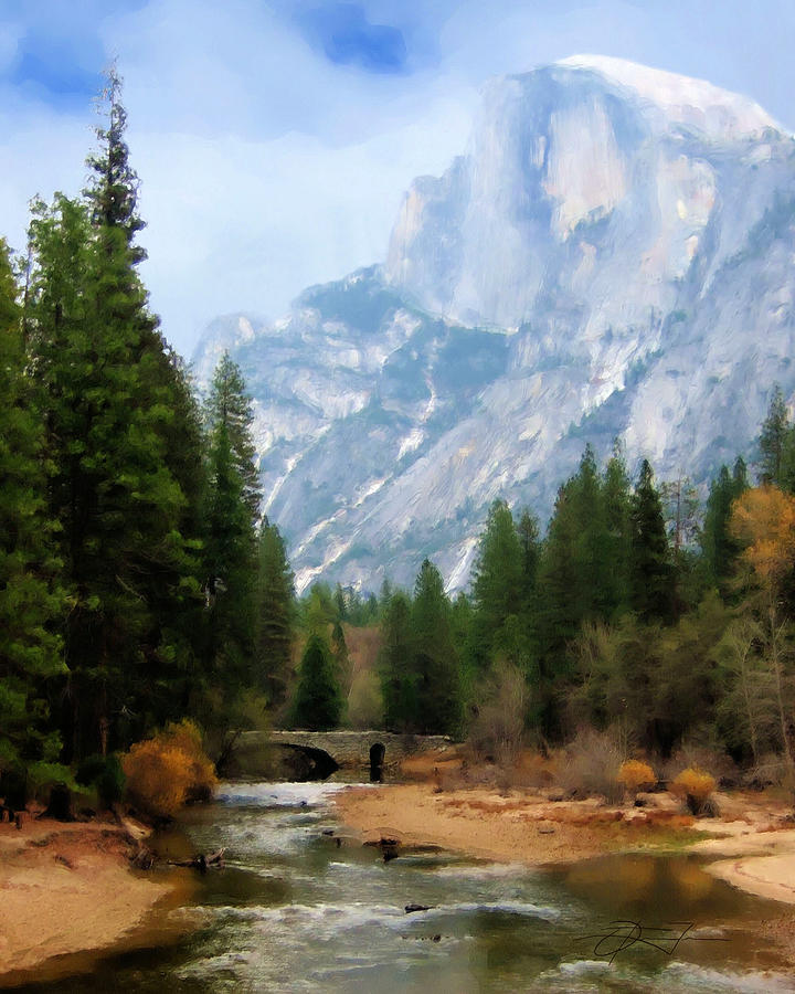 Half Dome Painting - Serenity by Oscar Franco