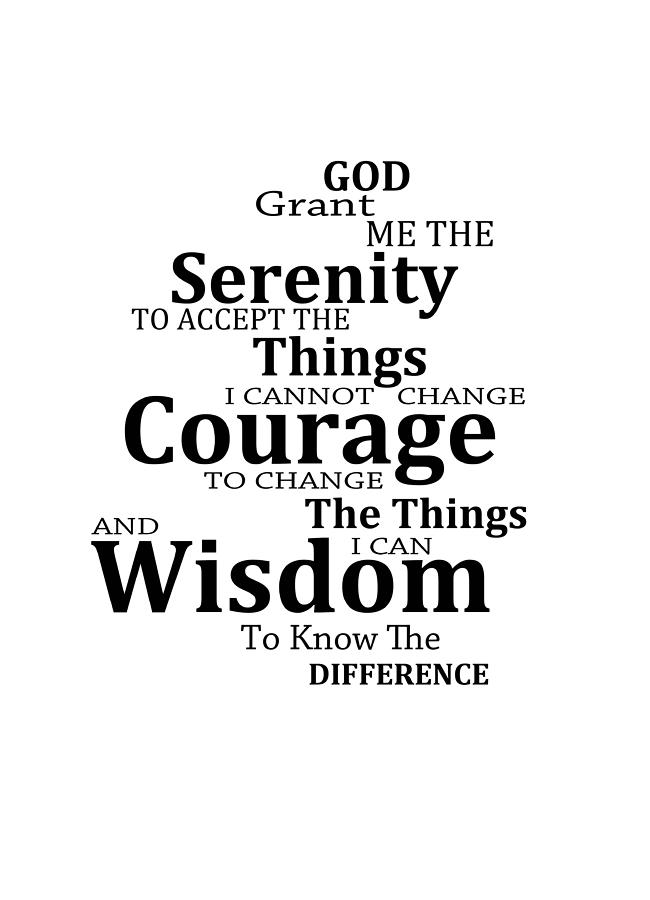 Serenity Prayer Painting - Serenity Prayer 6 - Simple Black And White by Sharon Cummings