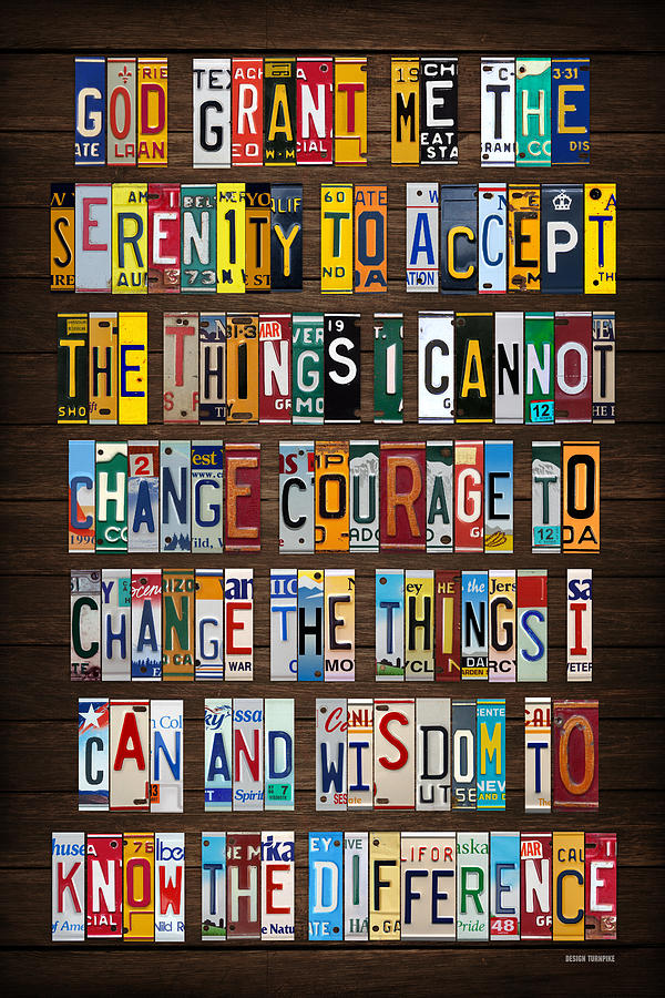 Serenity Prayer Mixed Media - Serenity Prayer Reinhold Niebuhr Recycled Vintage American License Plate Letter Art by Design Turnpike