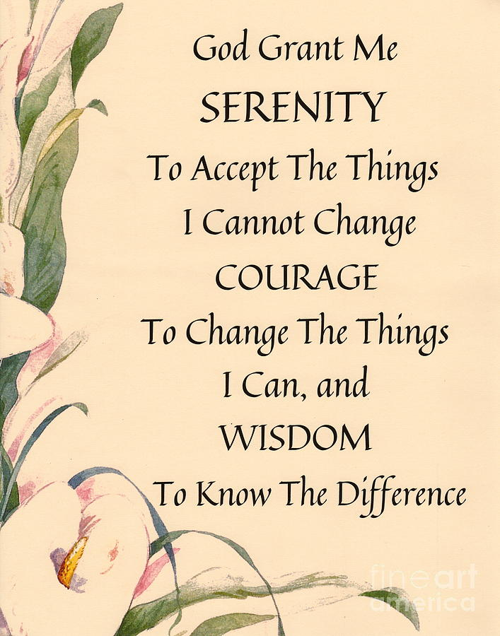 Serenity Painting - Serenity Prayer Typography On Calla Lilly Watercolor by Desiderata Gallery