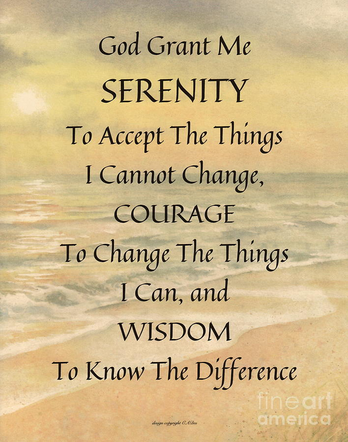 Serenity Prayer Typography On Ocean Sunset Watercolor Painting by ...