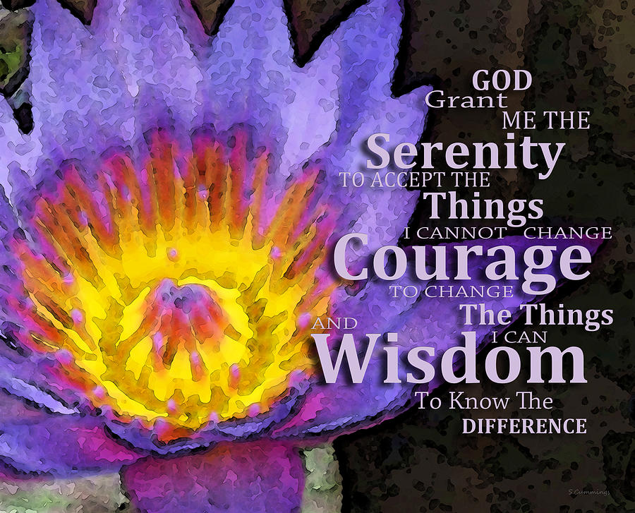 Serenity Prayer Painting - Serenity Prayer With Lotus Flower By Sharon Cummings by Sharon Cummings