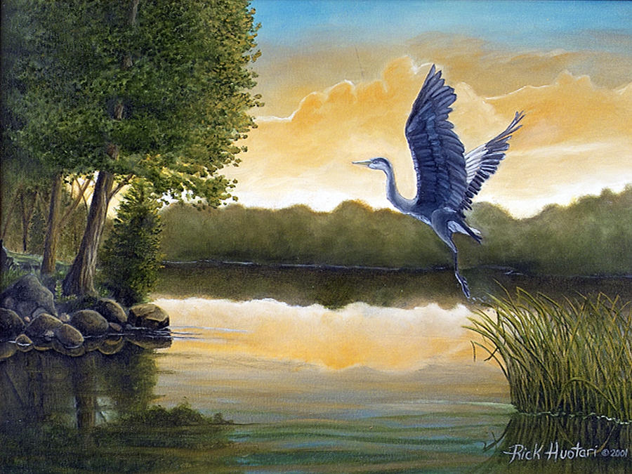 Great Blue Heron Painting - Serenity by Rick Huotari
