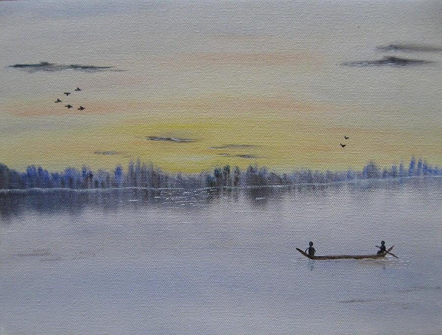 River Painting - Serenity by Sayali Mahajan