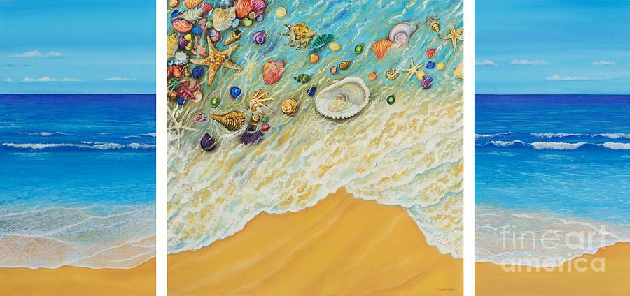 Sea Painting - Serenity. Triptych by Yuliya Glavnaya