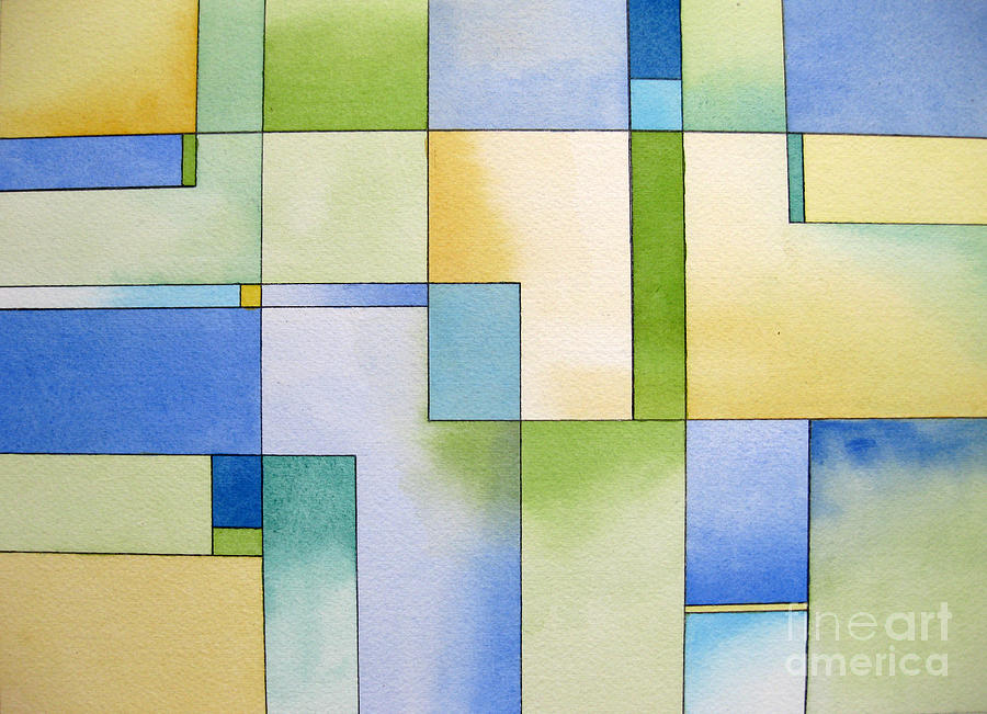 Abstract Painting - Serenity Watercolor Pen And Ink Geometric Abstract Painting by Cherilynn Wood