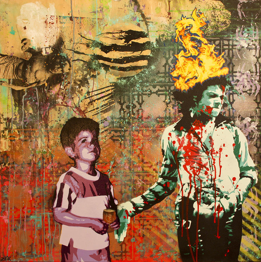 Michael Jackson Painting - Serial Thriller by Bobby Zeik