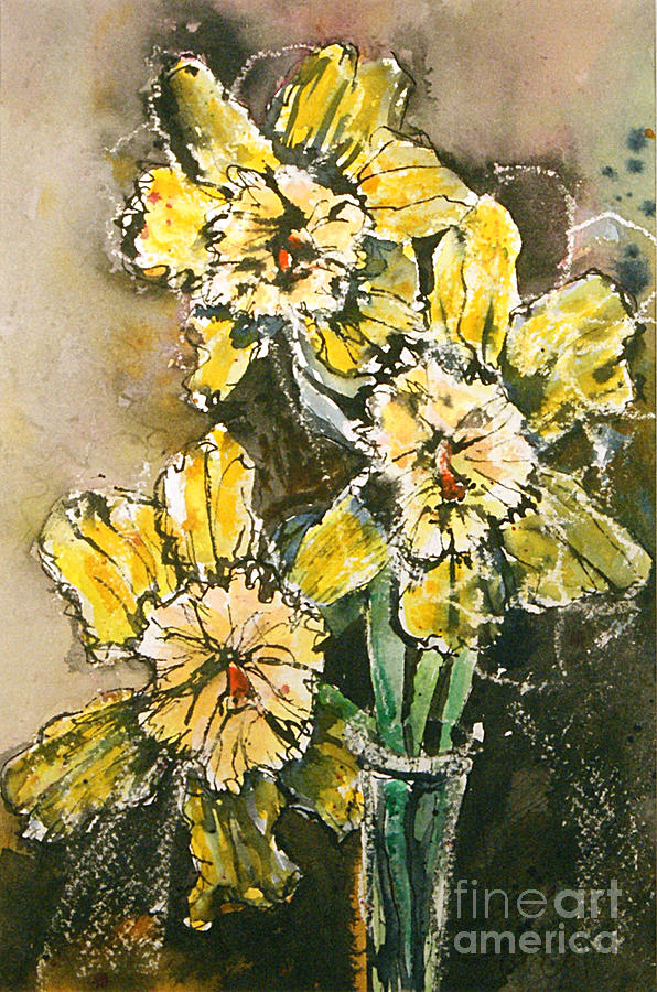 Watercolor Painting - Serious Daffodils by Gwen Nichols