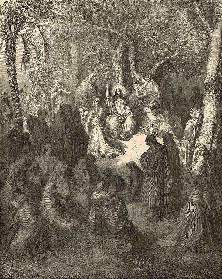 Biblical Drawing - Sermon On The Mount by Antique Engravings
