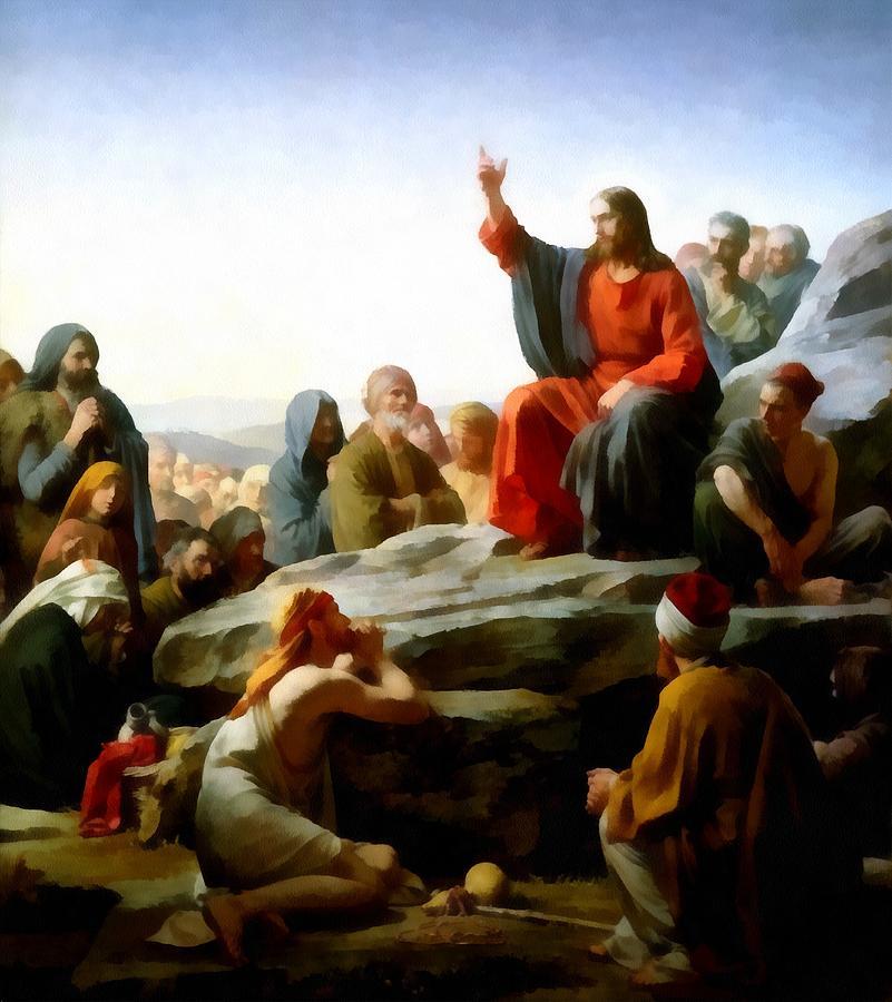 Carl Bloch Digital Art - Sermon On The Mount Watercolor by Carl Bloch