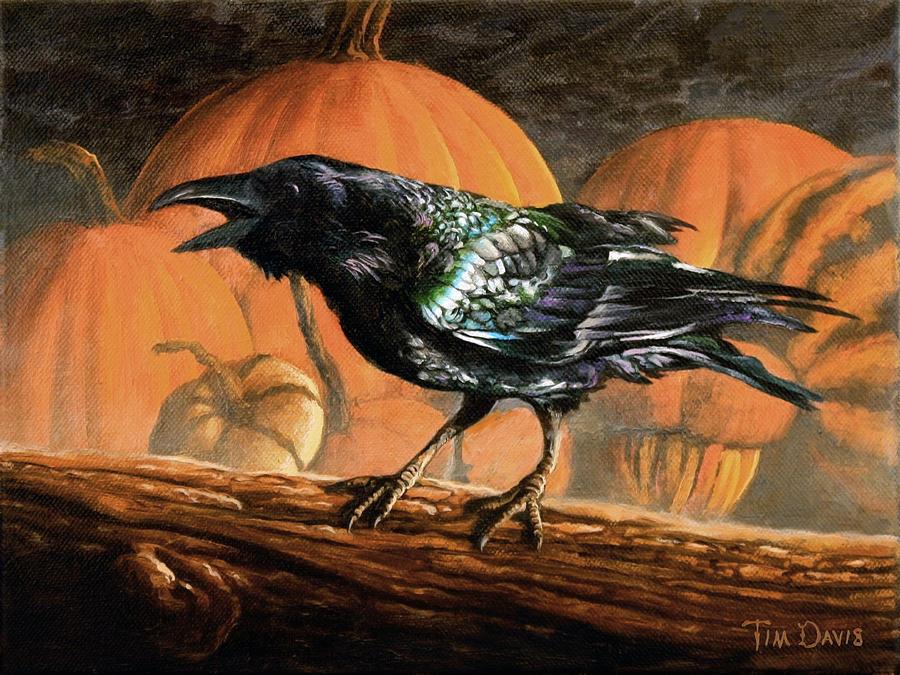 Raven Painting - Sermon on the Perch by Tim Davis