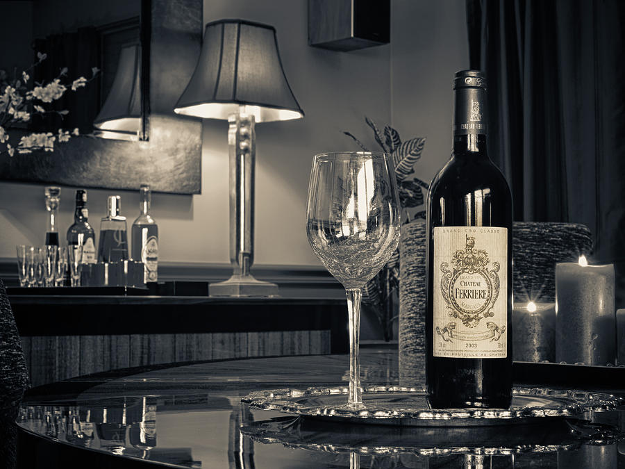 Wine Photograph - Service For One by Dennis James