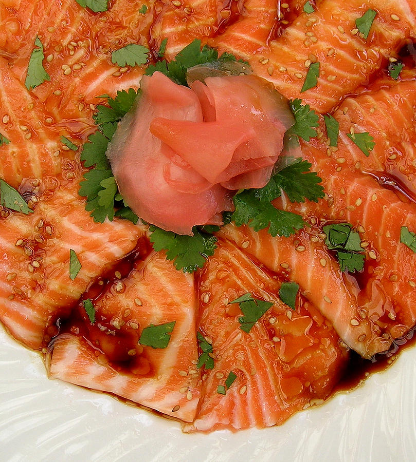 Salmon Photograph - Sesame Salmon Sashimi by James Temple
