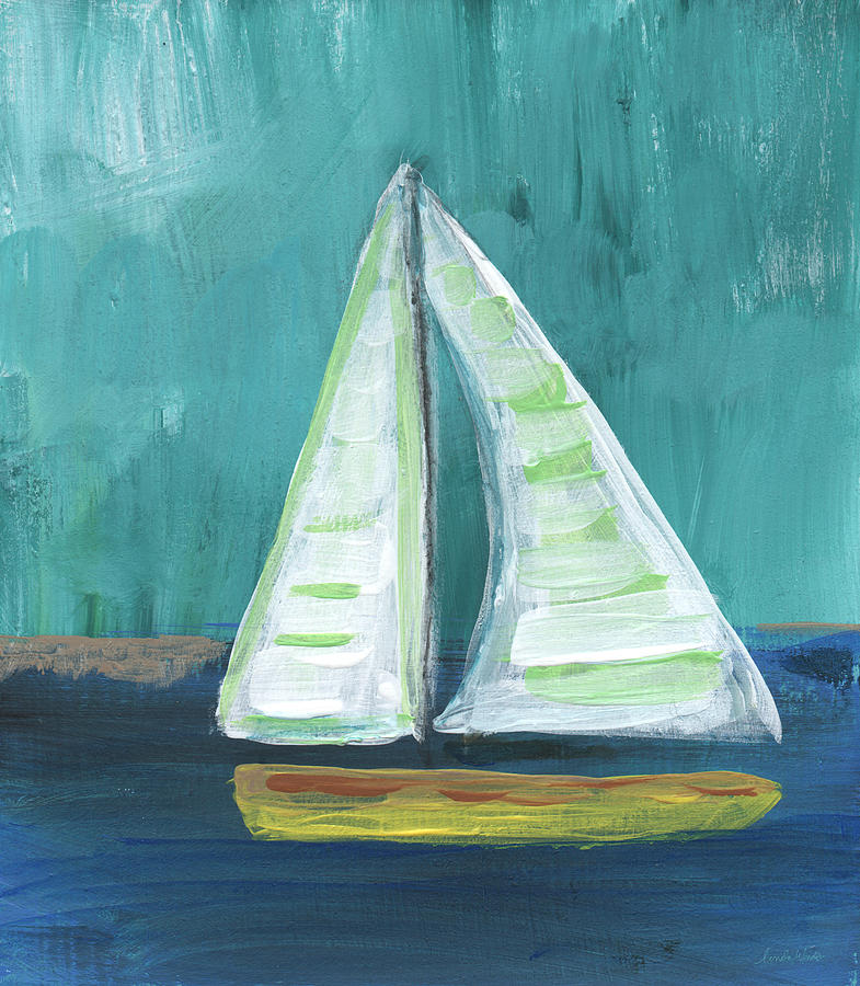 Boat Painting - Set Free- Sailboat Painting by Linda Woods