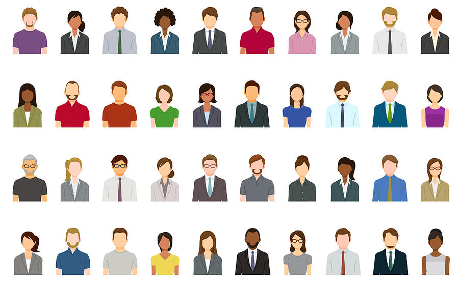 Set of abstract business people avatars Drawing by Yuoak