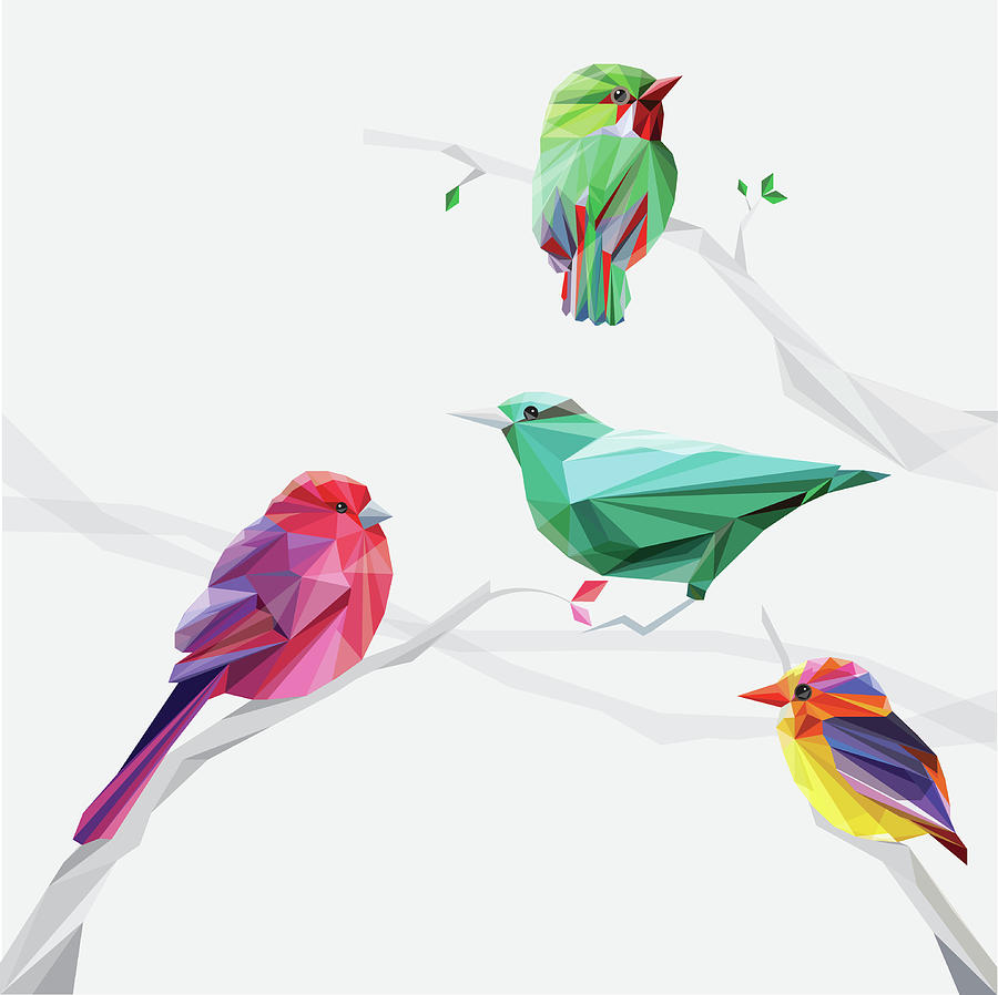 Set Of Abstract Geometric Colorful Birds Digital Art by Pika111