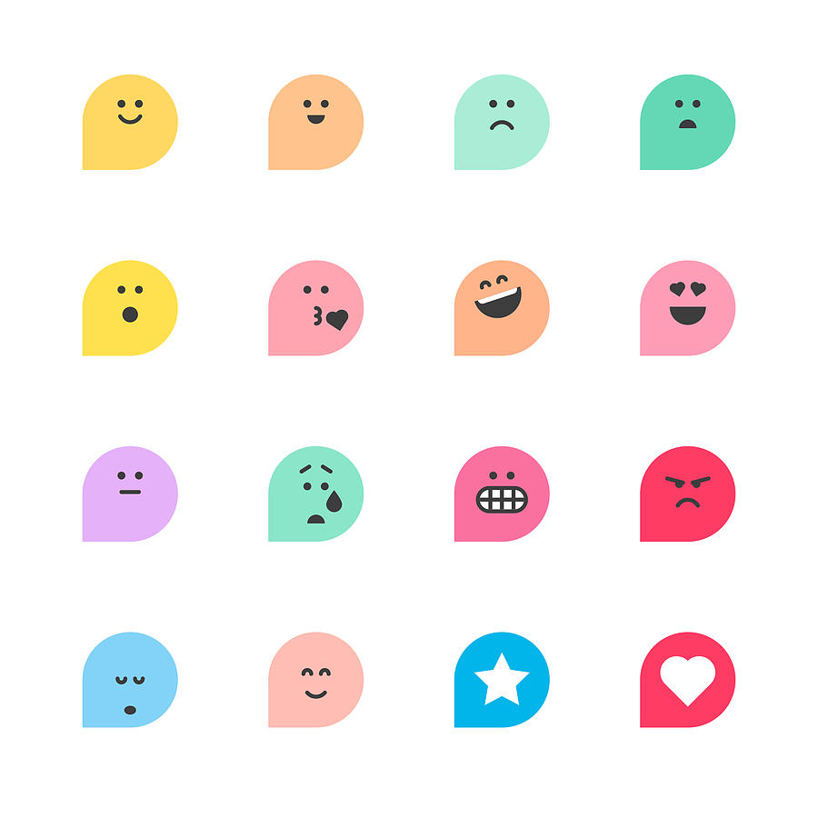 Set Of Basic Emoticons Reactions Drawing by Calvindexter