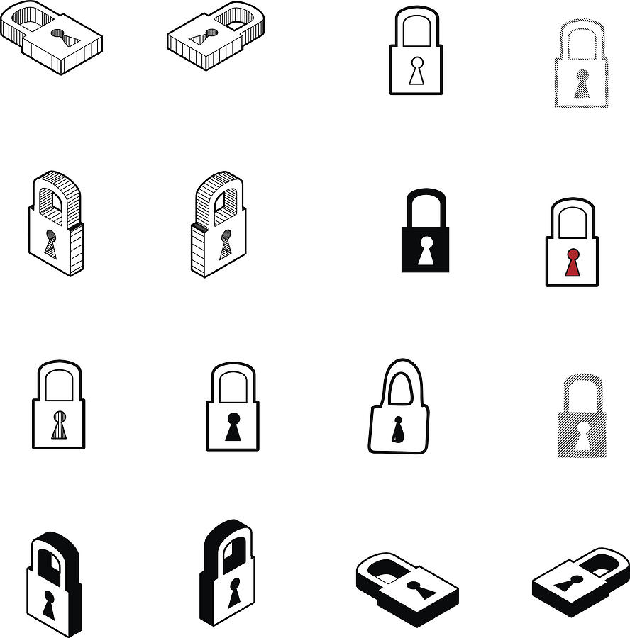 Set Of Collection Modern Vector Lock Icon Multi Type Of 3d Isometric Solid Line Scribble Hatch Doodle Shadow Isometric And A Little Colour On