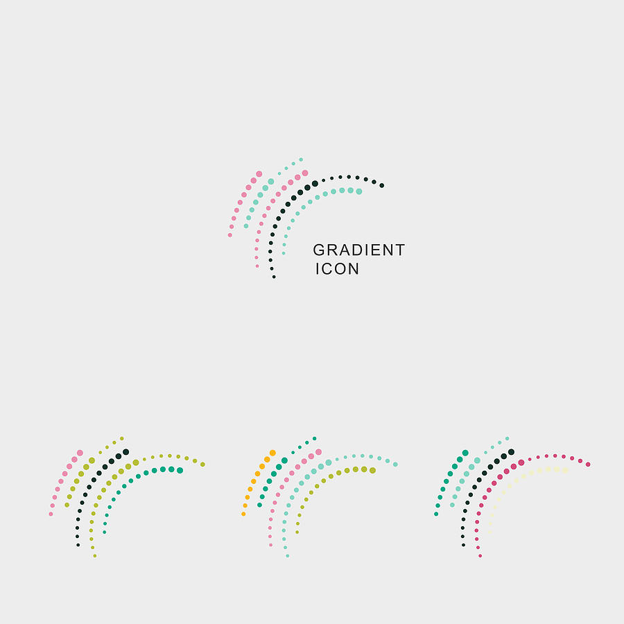 Set Of Color Curve Dots Style Icon For Design Drawing by Shuoshu